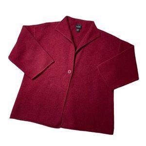 Eileen Fisher Wool Burgundy Long Sleeve Cardigan